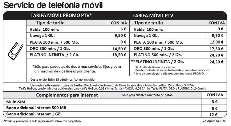 Telefonía móvil en promoción PTV Telecom ahorrame.com
